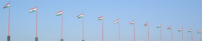 Hungary, flags in the wind